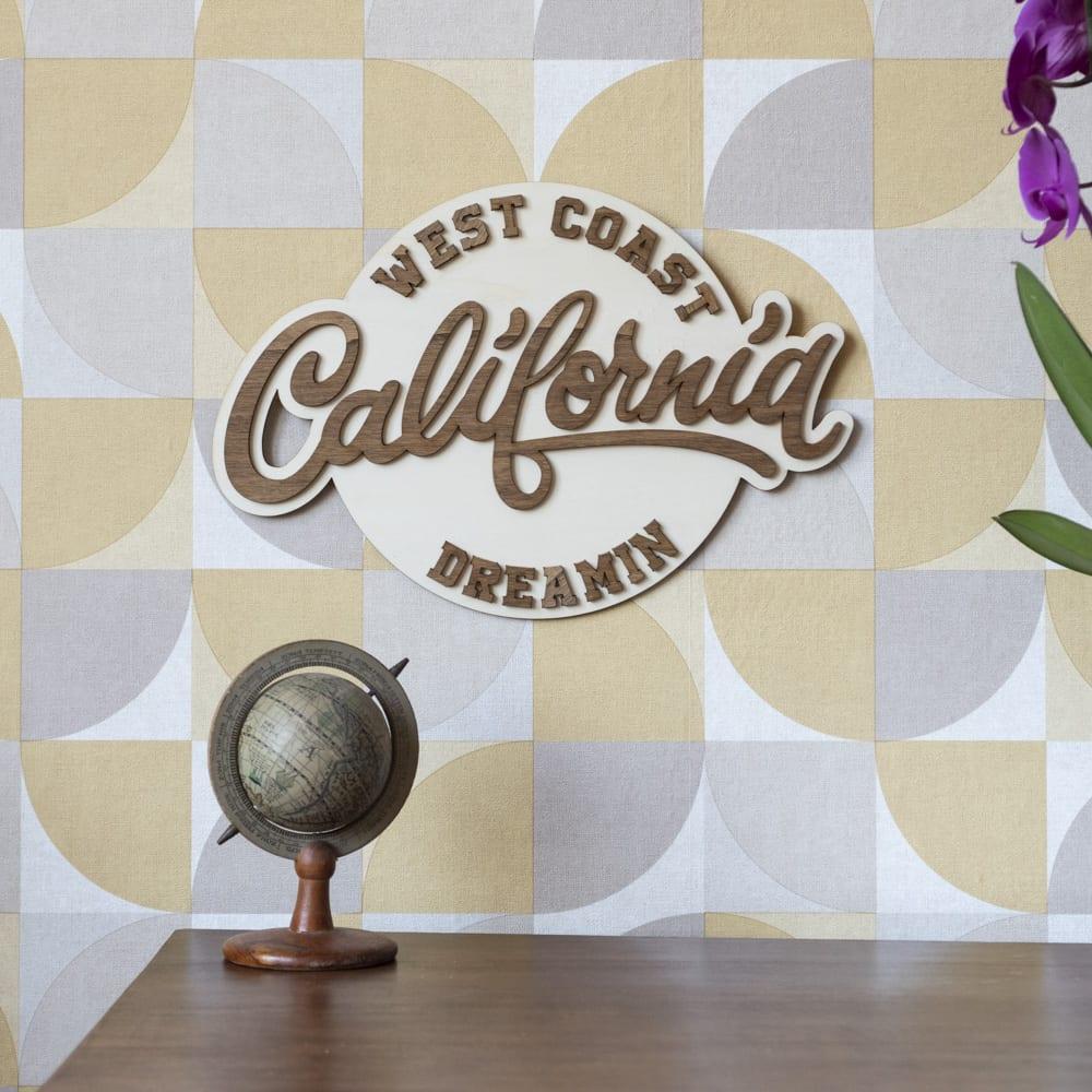 décoration murale intérieur vintage bois retro route 66 california west coast