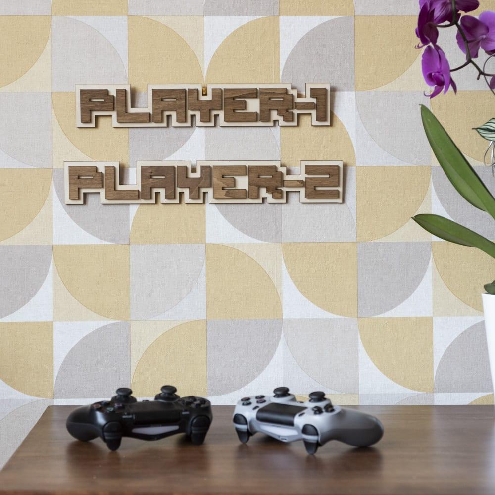 décoration murale bois retro gaming multiplayer player jeux video porte chambre enfant