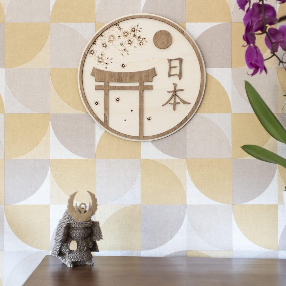 décoration murale bois japon fleur cerisier torii sakura traditionnel intérieur