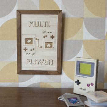 cadre décoration bois gaming room gameboy multiplayer retro